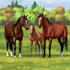 Bay Quarter Horses in Summer Pasture by Crista Forest