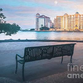 Bayfront Park Bench, Sarasota, FL, Painterly by Liesl Walsh