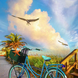 Beach Bicycle at Sunrise II by Debra and Dave Vanderlaan