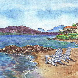 Beach House And Two Lounge Chairs At The Sea Shore Sardinia Italy Watercolor  by Irina Sztukowski