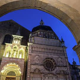 Beautiful Bergamo at Night - Cappella Colleoni Through Palazzo della Ragione Arches by Georgia Mizuleva