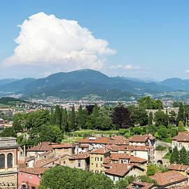 Beautiful Bergamo Lombardy Italy - Terracotta Rooftops and Bergamasque Alps by Georgia Mizuleva