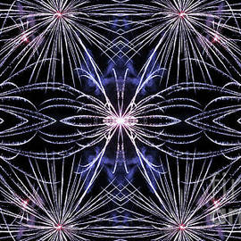 Beautiful blue fireworks effect surreal shaped in symmetrical kaleidoscope by Gregory DUBUS