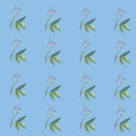 Beautiful Blue Flowers On Light Blue  by Johanna Hurmerinta