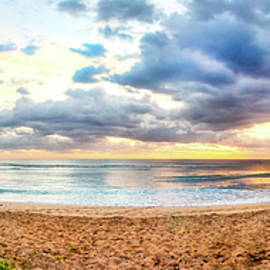 Beautiful Sunrise Beach Panorama by Debra and Dave Vanderlaan