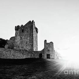 Beautiful Sunset on Ross Castle Killarney - BW by Scott Pellegrin