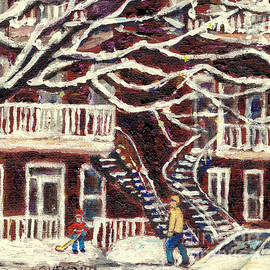 Beautiful Tree After The Snow Storm Montreal Winter Street Scene Painting Grace Venditti Artist by Grace Venditti