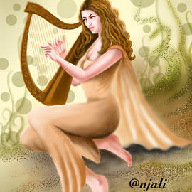 Woman Harp player by Anjali Swami