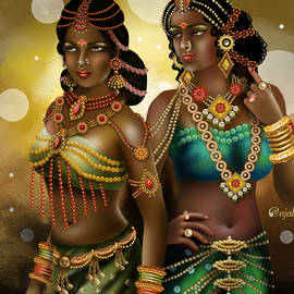 Beauty in traditional outfit Indian art by Anjali Swami