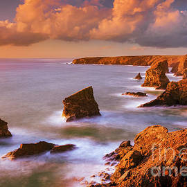 Bedruthan Steps Sunset, Cornwall, England by Neale And Judith Clark