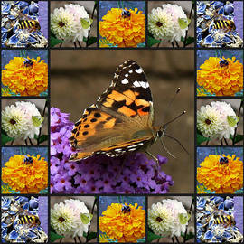 Bees and Butterlies Collage by Kathryn Jones
