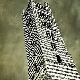 Bell Tower of Siena Cathedral Black and White by Ramona Matei