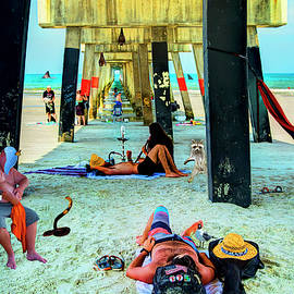 Beneath the Jacksonville Beach Pier  by Kay Brewer