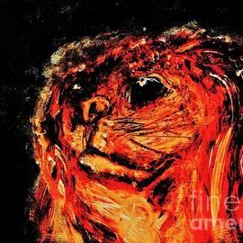 Bernie My Friend Abstract Expressionist Pet Portrait by Cara Schingeck by Cara Schingeck
