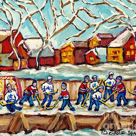 Best Winter Scene Paintings Outdoor Kids Hockey Rinks Cozy Houses Canadian Artist Carole Spandau by Carole Spandau