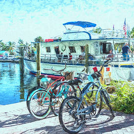 Bicycles at the Marina at Two Georges Painting by Debra and Dave Vanderlaan