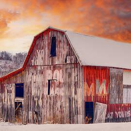 Big Red Barn Sunset #3119b by Susan Yerry