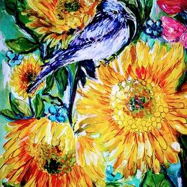 Bird and flowers by Nadege Moise