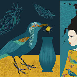 Bird bug and girl by Johanna Virtanen