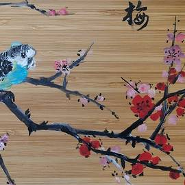 Bird on Chinese Plum Tree A  by Lamei Lepschy Bian