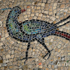 Bird with blue and green plumage and long red tail - early Christian mosaic in Byzantine Basilica by Terence Kerr