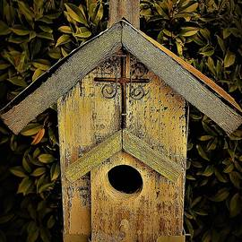 Birdhouse with Cross by Elizabeth Pennington