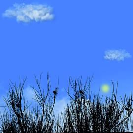 Birds In The Bush Blue Pane 4 by David Dehner