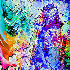 Birds of flight into mountain sunset abstract by Silver Pixie