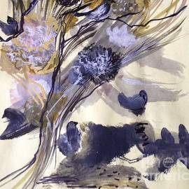 Birds with Tree and Flowers by Nancy Kane Chapman