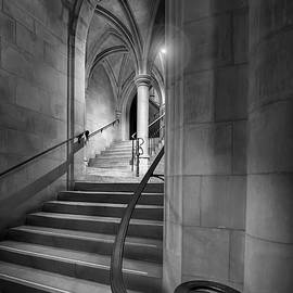 Black and White Cathedral Crypt Stairs