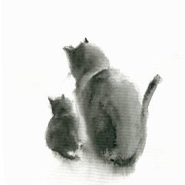 Black cat and kitten Original Watercolour British Shorthair Cat housewarming gift Cat lovers gift id by Watercolor Poetry