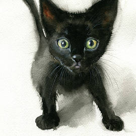 Black Kitten Painting by Dora Hathazi Mendes