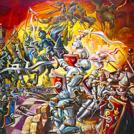 Black  Knights In Attack by Sergei Kotlobai