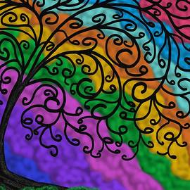 Black Swirl Tree With Rainbow Clouds by Chante Moody