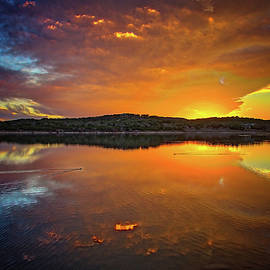 Blazing Skies at Boerne City Lake by Lynn Bauer