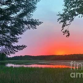 Blazing Summer Sunset in Minnesota by Ann Brown