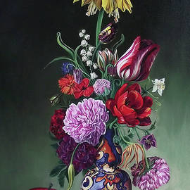 Still life spring bouquet with yellow tulip by Safir Rifas