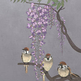 Blooming Wisteria and Sparrows by Spadecaller