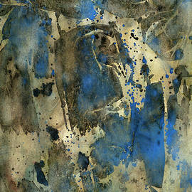Blue And Gold Abstract Watercolor Painting by Phillip Jones