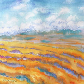 Blue and orange landscape watercolor by Nadezhda Bogomolova