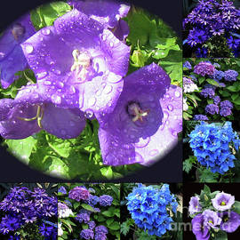 Blue and Purple Summer Flowers Collage by Kathryn Jones