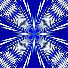 Blue and White Trippy St Andrew Cross Design by Douglas Brown