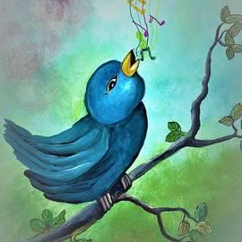 Blue bird singing by Tara Krishna