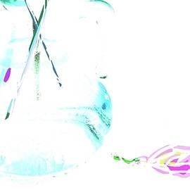 Blue Bottle And Petal by Alida M Haslett