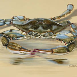 Blue Crab On Beige by Phyllis Beiser