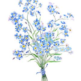 Blue Forget Me Not Flowers Bouquet  by Color Color