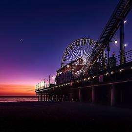 Blue hour at Santa Monica pier by Christopher J Sweet