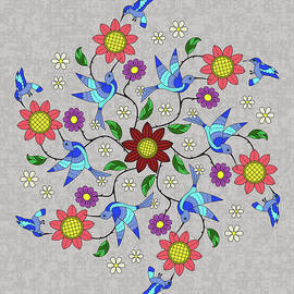Blue Hummer Mandala by Leslie Montgomery
