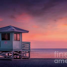 Blue Lifeguard Stand at Venice Beach, Florida by Liesl Walsh