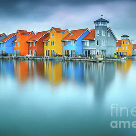 Blue Morning at Waters Edge Groningen Netherlands Europe Coastal Landscape Photograph by Janos Gasper